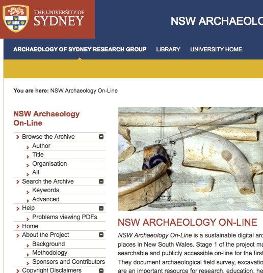 New South Wales Archaeology On-Line